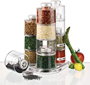 Rubik Spice Jar Masala Containers, Set of 12 PCS Self Stacking Spice Pepper & Salt Bottles with Caps and Sifter Lids, Spice T