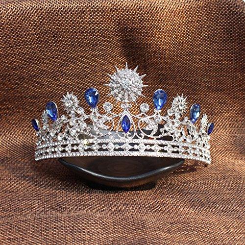 Azul Cabeza De Diamantes De Imitación De La Boda De La Corona De La Tiara Del Desfile De Belleza Casco Nupcial