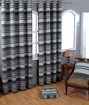 Homescapes 1 pair of Morocco Ribbed Stripe Curtains Grey Charcoal ...
