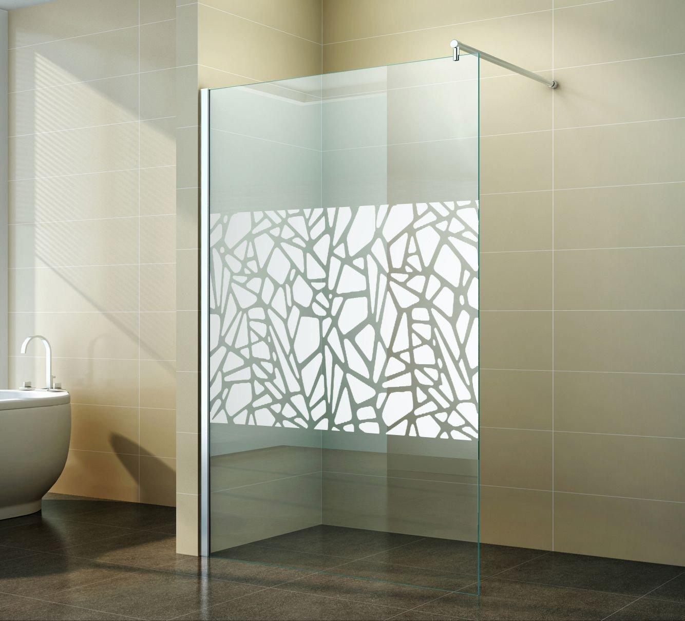 walk in duschabtrennung scherben design spiegel duschwand dusche glas freistehend seitenwand nano beschichtung apperl effekt duschtrennwand - Glaswand Dusche Walk In