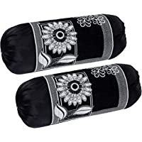 HSR Collection 2 Piece Valvet Chenille Bolster Cover Set - 32x16 inches, Black