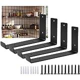 4 stuks drijvende plank beugels zwart metalen planken - wandmontage vintage ondersteuning, zware drijvende beugels met lip, r