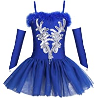 Agoky Girls Ballerina Swan Outfit Sequins Faux Fur Ballet Dance Tutu Dress with Fingerless Gloves and Hair Clip Set