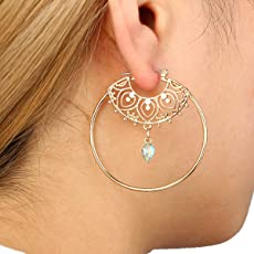 Ziory Gold Vintage Antique Crystal Circle Hollow Carving Dangle Earrings for Women Punk Alloy Drop Earrings Jewellery For Girls and Women