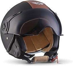 Moto Helmets H44 Vintage Black · Cruiser Bobber Mofa Vespa-Helm Scooter-Helm Retro Jet-Helm Helmet Pilot Roller-Helm Biker Chopper Moto Helmetsrrad-Helm Vintage · ECE zertifiziert · inkl. Sonnenvisier · inkl. Stofftragetasche · Schwarz · L (59-60cm)