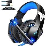 Bovon Cuffie Gaming per PC, Cuffie Cancellazione Rumore con Microfono da 3,5 mm, Controllo in Linea & Luce a LED, Cuffie…