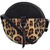 La Dearchuu Runde Tasche Damen Leder Mini Umhängetasche, Schwarzkörper Circle Schultertasche Klein Leopard Muster Schulter Ta