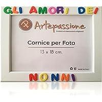 Cornici per foto in legno con la scritta Gli Amori dei Nonni, da appoggiare o appendere, misura 13x18 cm Bianca. Ideale…