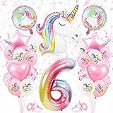 Globos Numeros Gigantes Unicornio 6, Decoración de Cumpleaños 6 en Rosado, Decoracion Unicornio, Globos de Cumpleãnos Unicorn