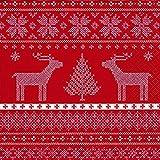 40 Lunch Servietten Helene (Helene red)1/4 gefalzt, 3-lagig Größe offen: 33x33 Weihnachten Advent Norwegen Rentier