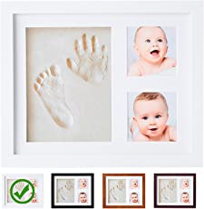 Mold Your Memories Newborn Baby's Clay Handprint and Footprint Photo Frame (White)