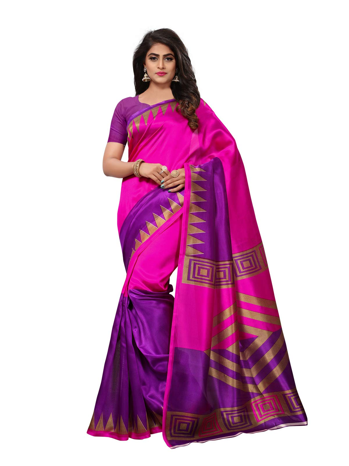 Kanchnar Women's Magenta and Purple Poly Silk Printed Saree