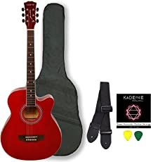 Kadence Frontier Series, Red Acoustic Guitar Combo Bag, Strap, Strings And 3 Picks