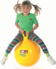 Getko Sit and Bounce Rubber Hop Ball for Kids with Foot Pump and Random Handle Designs (Multicolour)