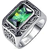 Bonlavie Anello in argento Sterling 925 con smeraldo da 6,85 carati tagliato di dimensioni 8 mm x 12 mm, da uomo