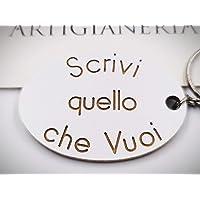 ArtigianeriA - Portachiavi in legno, personalizzato con testo a scelta. Realizzato a mano interamente in Italia. Idea…
