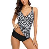 ALove Cross Back Geometric Tankini Swimsuits for Women 2 Piece Swimsuits with Shorts