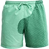 PANOZON Sneldrogende zomerzwemshorts voor heren, verkleuring bij water, Hawaii surf, zwembroek