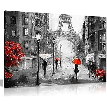 Amazon.de: Schwarz-Weiß-Rot-Weiß-Bild von Paris Eiffelturm
