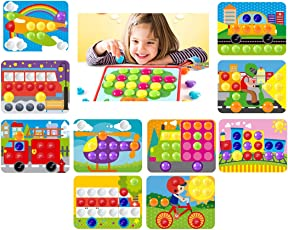 GoAppuGo Baby Learning Toys for 3 Year Old Boys Girls 10 Vehicles, 70 Large Plastic Buttons, Complete The Picture Kids Toys for Girls Boys 3 Years, Toys for 2 Year Old Babies Infants