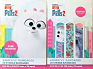 The Secret Life of Pets 2 Adhesive Bandages for Minor Cuts and Scrapes, Assorted Designs, Pack of 2