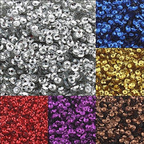 Perlin 12000 Stk. Pailletten Ø 4mm 10 Farben Set Schüssel gewölbt für DIY Kleidung und Schmuck, Handwerk Metallic Basteln Sequin Bombe (Metallic-perlen-halskette Blau)