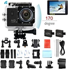 pingko F71 4 K Wifi Full HD Action Sport-Kamera, 1080P 30 fps 12 MP 5,1 cm LCD-Bildschirm 170 Grad Weitwinkel Objektiv Sports Video Camera Auto Helm Camcorder, wasserdicht, mit 2 Batterien