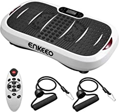 ENKEEO Vibrationsplatte Profi Vibrationstrainer Ganzkörper Trainingsgerät mit Horizontale & vertikale Vibration, 5 Trainingsprogramme, 99 Intensitätsstufen für Fettabbau und Gewichtsreduzierung, inkl. Trainingsbänder