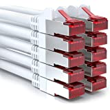 deleyCON 10x 0,25m CAT6 Patchkabel S/FTP PIMF Schirmung CAT-6 RJ45 Netzwerkkabel Ethernetkabel LAN DSL Switch Router Modem Access Point Patchfelder - Weiß
