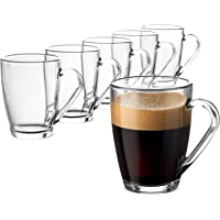 Sillio Glass Tea and Coffee Cup, Cute Clear (Transparent) Tea Cups Glass, 230 ml, Set of 6