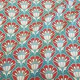 Stoff Meterware Baumwolle Art Deco Deko Blumen türkis rot gold Dekostoff Vorhang Tischdecke