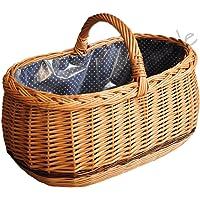 ForYourProtection Einkaufskorb mit Stoffbezug Weidenkorb Autokorb Weide Korbwaren Korb GROßES Auswahl (Typ 1: (L) 45 x…