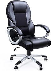 SONGMICS Ergonomischer Bürostuhl, höhenverstellbarer Drehstuhl, robust, stabil und langlebig, schwarz, OBG22B