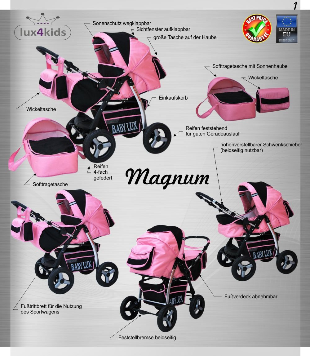 Lux4Kids Magnum Pram & Pushchair (raincover, mosquito net, cup holder, changing pad) 66 Beige & Diamonds  Buggy accessories - Offer all included - 3 free items - More about www.youtube.com/Lux4Kids Solid steel construction, adjustable handlebar height, hood / hood adjustable, buggy converts to pram. Made in EU (DIN EN1888 / 2005) 3
