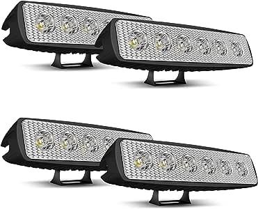 2PCS 6In 18W 12V-24V off road lampe Barre Projecteur Phare de Travail LED FLOOD brouillard LED Feux Diurne lumi/ère /éclairage de la moto Rampe de toit Feu de recul Camion 4x4 Quad Tracteur Bateau