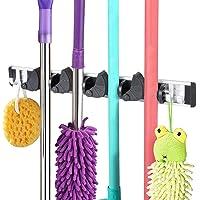 Vicloon Nouveau Porte balais Mural Multifonctions,Mop Crochet Support de Rangement avec 4 Emplacements Mobile 4 Crochets…