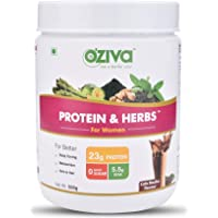 Oziva Protein & Herbs For Women Whey Protein Shake With Ayurvedic Herbs, Cafe Mocha, 16 Servings, 0g added Sugar