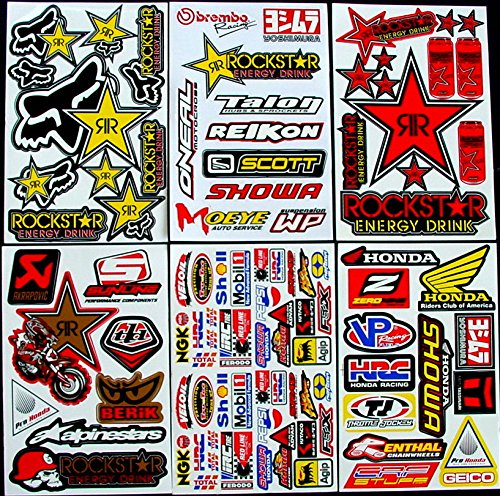 * 6 BLATT AUFKLEBER VINYL T-G/ MOTOCROSS STICKERS BMX BIKE PRE CUT STICKER BOMB PACK METAL ROCKSTAR ENERGY SCOOTER