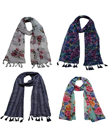 d31a6a7dd Letz Dezine ™ Women's Printed Poly Cotton Multicolored Scarf and Stoles  with Pearl Tassels - Set