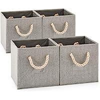 EZOWare Boîte de Rangement Pliable en Tissu de Coton avec Poignées et Porte-étiquette, Panier de Rangement, Caisse de…