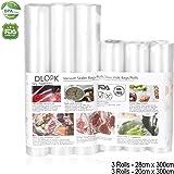 Sacs sous Vide Pack de 6 Packs 20 x 300cm et 28 x 300cm Compatible avec n'importe quelle scelleuse sous vide pour la maison,sans BPA, Approuvé par la FDA pour Appareil sous Vide, Qualité Commerciale
