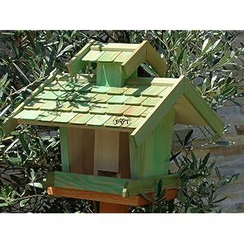 Vogelhaus-futterhaus, BTV-X-VOVIL4-moos002 Großes PREMIUM Vogelhaus WETTERFEST, QUALITÄTS-SCHREINERARBEIT-aus 100% Vollholz, Holz Futterhaus für Vögel, MIT FUTTERSCHACHT Futtervorrat, Vogelfutter-Station Farbe grün moosgrün lindgrün natur/grün, MIT TIEFEM WETTERSCHUTZ-DACH für trockenes Futter