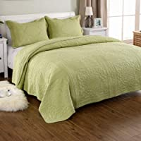 Quilting Tree 100% Cotton Green Embroidery Quilted Blanket and Pillowcase Set - - 3 Piece Quilt Bedspread