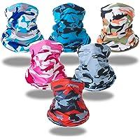 SC 6 Pieces Neck Gaiter Bandana Headband Snoods Face Covering Balaclava Tube Scarf UV/Dust Protection, Reusable Washable…