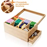 Amazy Scatola porta tè in bambù (8 SCOMPARTI + CASSETTO LATERALE) – Contenitore Bustine tè in vero legno di Bambù con…