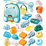 GeyiieTOYS Water Pistols Beach Sand Toys Set with 1900ml Capacity Water Gun Backpack, Sand Molds&Sand Castle Building Kit, To