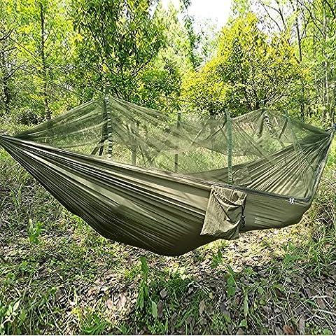 Fucnen Voyage Camping Randonnée Hamac à suspendre Lit avec moustiquaire pour extérieur/intérieur fasion Portable haute résistance Parachute Tissu, Homme, vert militaire