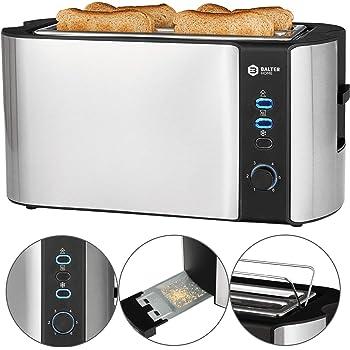 Balter TS-04 Grille-pain automatique à fente longue fente 4 tranches avec fonction dégivrage automatique et grille de pain, tiroir ramasse-miettes en acier inoxydable Argenté