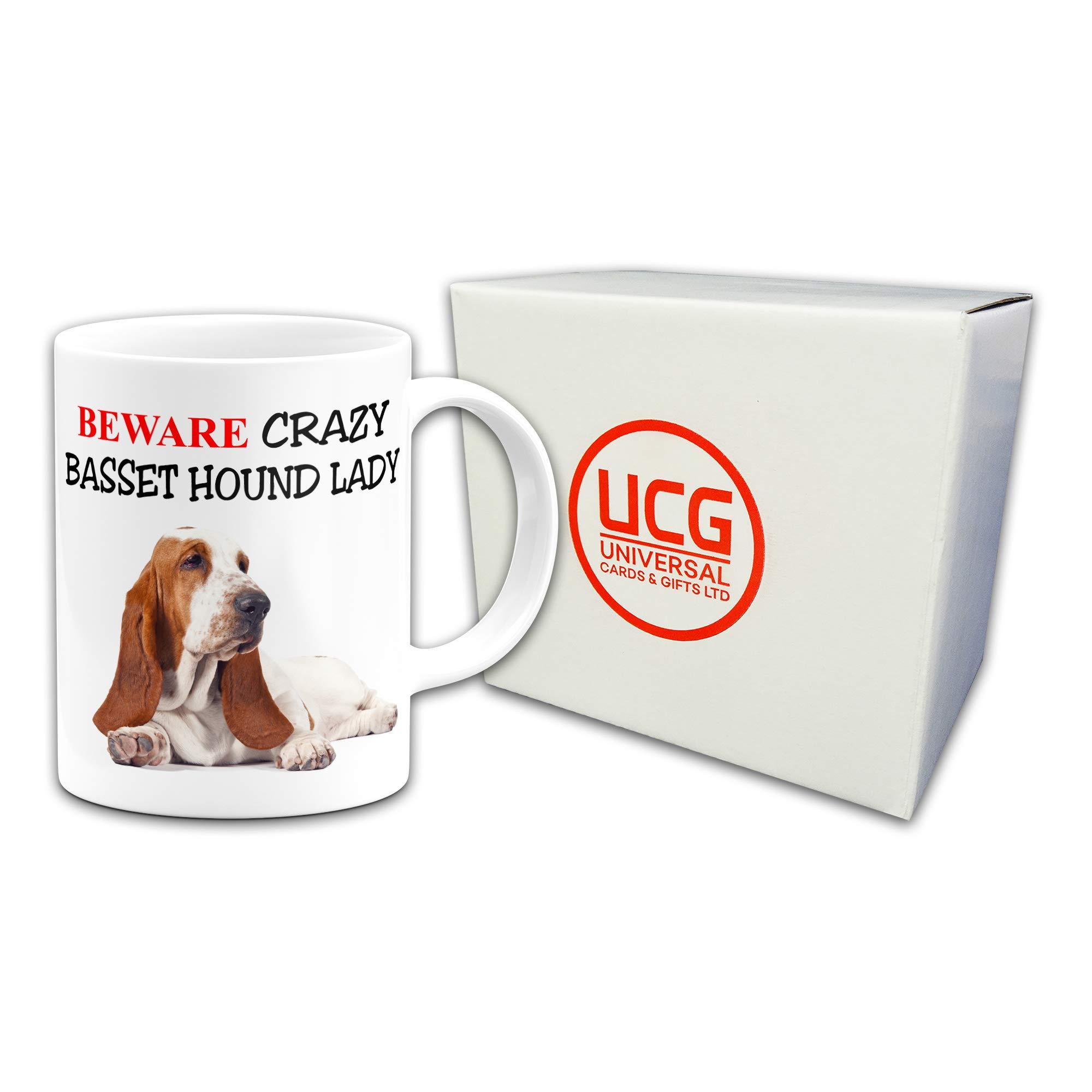 Beware Crazy Basset Hound Lady Funny Novelty Gift Mug