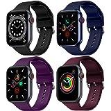 FITA [4 Pack] Correas Compatible con Apple Watch 40 mm 38 mm 42 mm 44 mm, Banda de Repuesto de Silicona Suave Compatible con